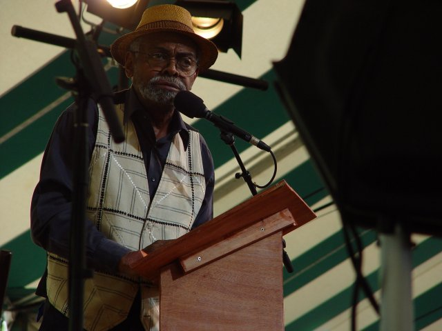 Amiri Baraka, Dodge Poetry Festival 2002; photo by Chris Funkhouser