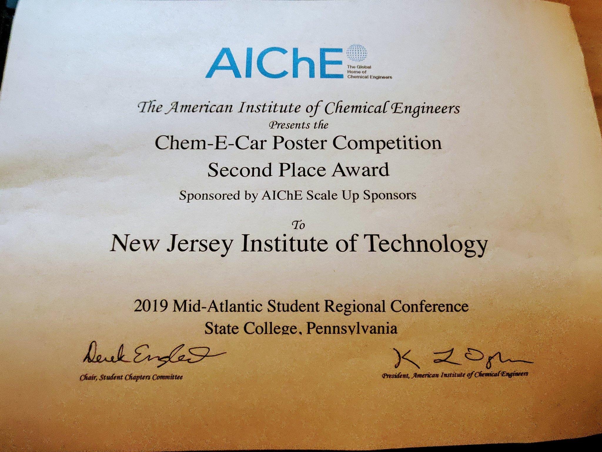 ChemE Car Poster 2nd Place AICHE 2019 Regionals @Penn State U