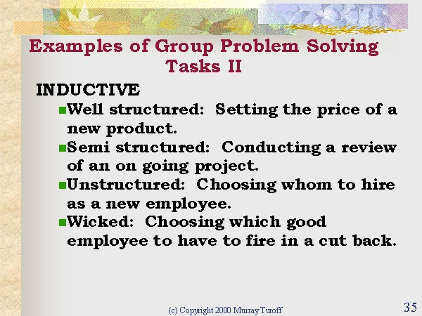 examples of group problem solving tasks ii