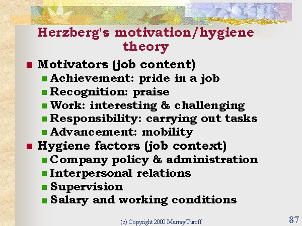 herzberg motivation hygiene theory pdf